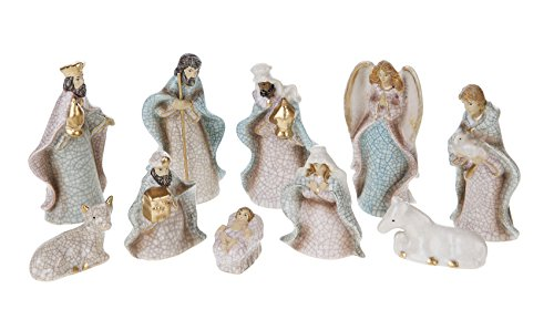 Creative Co-op XC2796 10 Piece Crackled Stoneware Nativity