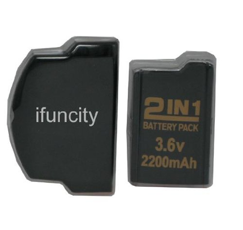 2 in 1 Lithium Rechargeable Battery Pack and Back Cover for PSP 2000 (2200 mAh)