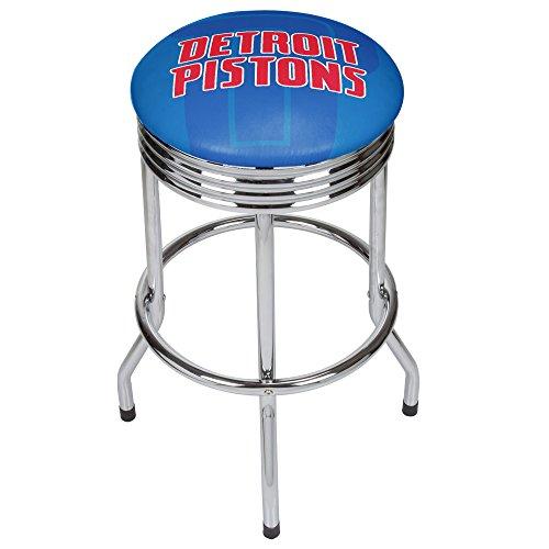 Trademark Gameroom NBA1005-DP2 NBA Chrome Ribbed bar Stool - Fade - Detroit Pistons