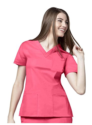 G Med Women's Two Piece Solid Pocket Top and Pant Scrub Set(SET-MED,PNKA1-L)