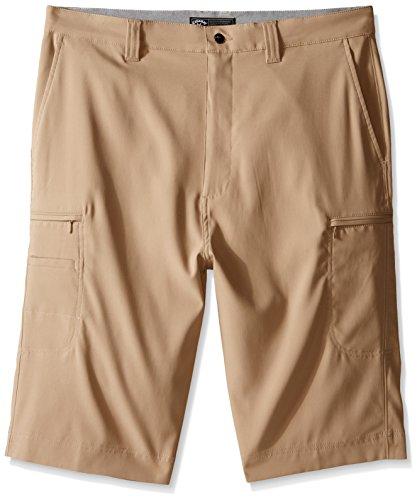 Callaway Men's Big & Tall Golf Performance Flat Front Cargo Shorts, Chinchilla, 42 Tall - Perry Ellis Khaki