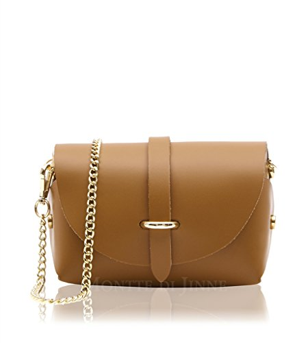 Small Italian Shoulder Gold Bag Dark Tan Mini Genuine Metal Chain Evening Leather Smooth With Micro Crossbody Real Strap 10wqX4