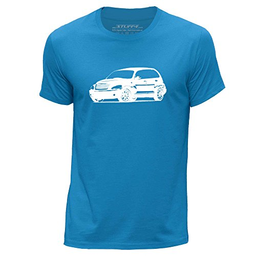stuff4-mens-large-l-blue-round-neck-t-shirt-stencil-car-art-pt-cruiser