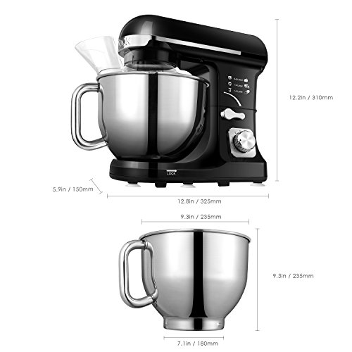 Aicok Stand Mixer, 500W 6-Speed 5-Quart Stainless Steel Bowl, Tilt-Head Food Mixer Kitchen Electric Mixer with Double Dough Hooks, Whisk, Beater, Pouring Shield, Black by Aicok (Image #6)