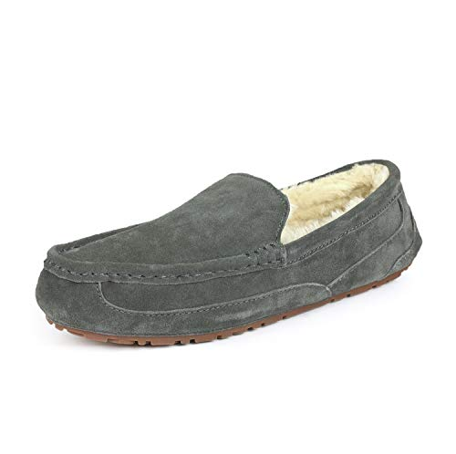 DREAM PAIRS Men's Au-Loafer-01 Grey Suede Faux Fur Slippers Loafers Shoes Size 7.5 M US