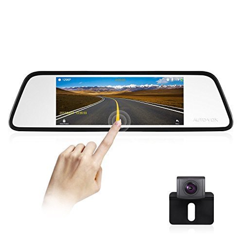AUTO-VOX M8 Mirror Dash Cam Backup Camera Kit 180°Horizontal View Angle Back up Car Camera and 1296P Large Touch Screen with Lane Departure Warning System, Security Alarm & Motion Detection
