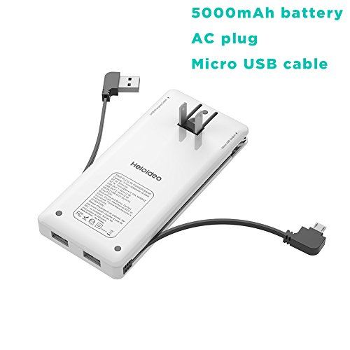 Heloideo 5000mAh Slim Power Bank with AC Adapter, Dual USB 5V/2.4A Output Portable charger, Built-in Micro USB Cable for Micro USB Input Devices, Work With iPhone Via USB Ports (White)