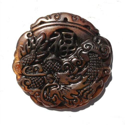 Delicately Carved Dragon - Large & Thick Blood Jade Delicately Carved Dragon Fortune Word Amulet Pendant #ID-839