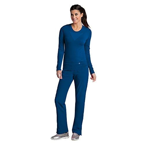 Nursing T-shirt Uniform (Barco One Women's 5305 Seamless Long Sleeve Underscrub Tee Shirt- Indigo- XX-Large)