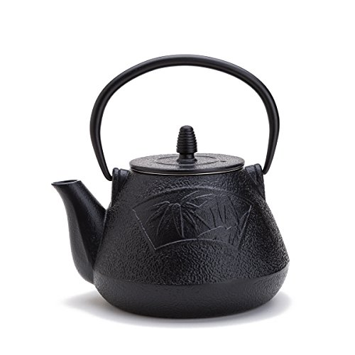 THY COLLECTIBLES Black Cast Iron Tea Set Teapot Tetsubin, Leaf Pattern -