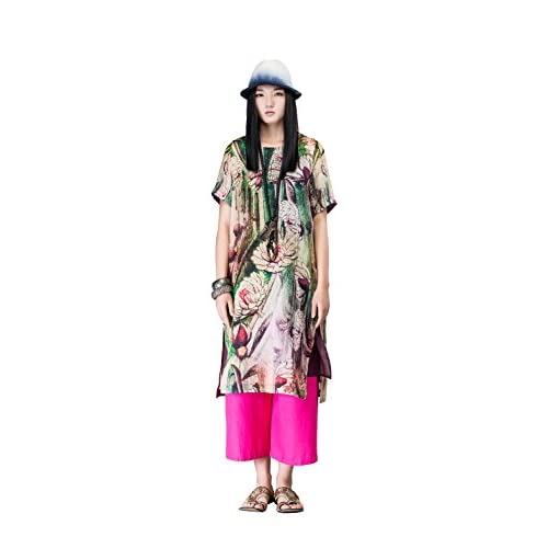 d4b95507141 60%OFF OUTLINE Womens Plus Size Loose Flower Print Retro Casual Silk Shift  Dress