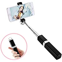 Labvon Bluetooth Selfie Stick Foldable Extendable Selfie Stick with Built-in Remote Shutter for iPhone 7/7 plus/6/6s/Android&IOS Smartphones(Black) (Black)