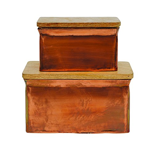 Creative Co-op Iron Boxes with Wood Lids (Set of 2 Sizes) ()