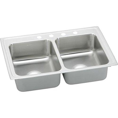 Elkay LR29184 4-Hole Gourmet Lustertone Stainless Steel 29-Inch x 18-Inch Double Basin Top-Mount Kitchen (Lustertone Double Bowl Corner Sink)