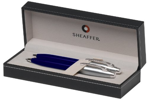 Sheaffer Gift Collection Series Ball Point and Mechanical Pencils Set, Blue Translucent Finish with Satin Chrome Plate Trim (SH/9308-9) ()