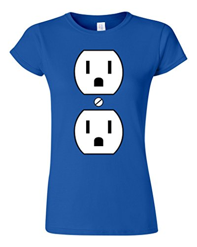 Junior Plug Outlet Face Party Costume Funny Humor DT T-Shirt Tee (XXX Large, Royal (Party City Halloween Costumes For Juniors)