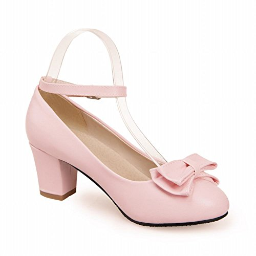 Show Shine Women's Fashion Sweet Bow Mid Chunky Heel Pumps Shoes Buckle Mary Janes Shoes