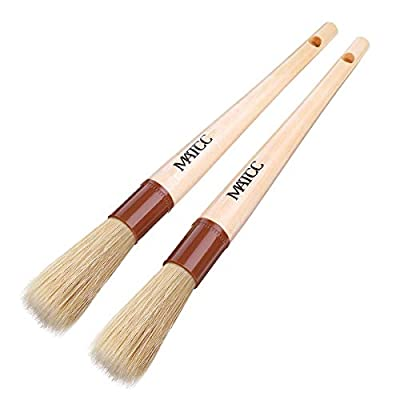 MATCC Detailing Brush Car Detail Brush Car Cleaning Brush Auto Detailing Tools Premium Boar's Hair Bristle with Wooden Handle