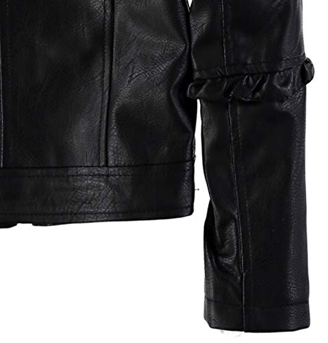Urban Republic Girls' Faux Leather Ruffle Moto Jacket (Black, 7/8) by Urban Republic (Image #6)