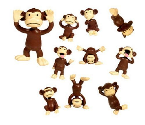 24 Monkey Figures Tiny Plastic Small Little Brown Funny Miniature Monkeys Figurines Party Favors Bags Small Pack Animal Toy (Monkey Pinata)