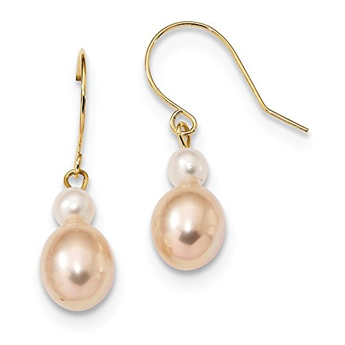 14k Yellow Gold 8mm White/pink Round/rice Freshwater Cultured Pearl Drop Dangle Chandelier Earrings Fine Jewelry Gifts For Women For Her Cultured Freshwater Rice Pearl Drop