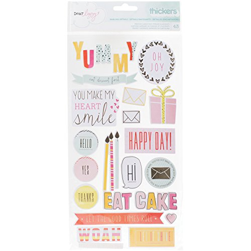 American Crafts 370087 Dear Lizzy Fine and Dandy Chipboard Gold Foil Thickers Phrase and Accents ()
