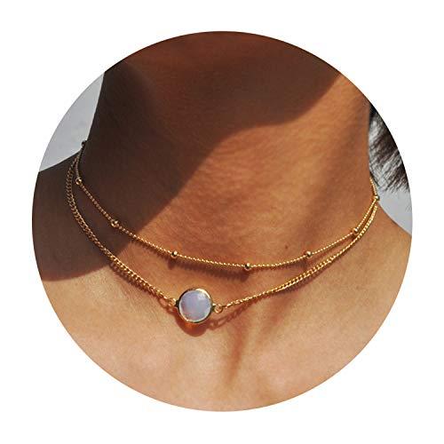 Fettero Dainty Double Layered Gold Choker Handmade Beads 14K Gold Fill Round White Opal Pendant Necklace -