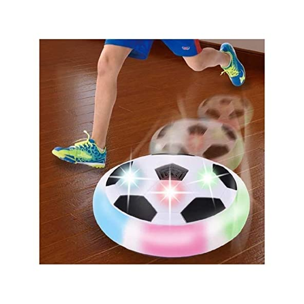 Electrobot Toy Air Powered Pneumatic Suspended Hover Soccer Ball/Disc with Foam Bumpers and Colorful LED Lights Size 4 (Multicolour)