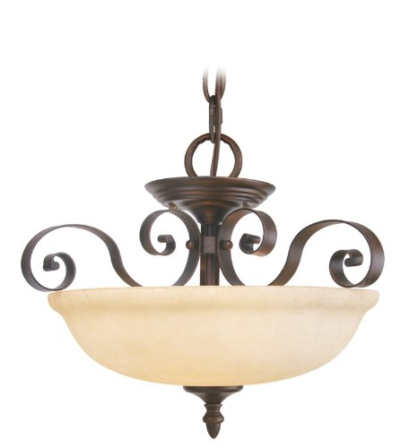 Livex Lighting 6149-58 Manchester 3 Light Imperial Bronze Hanging Lantern / Semi Flush with Vintage Alabaster Glass