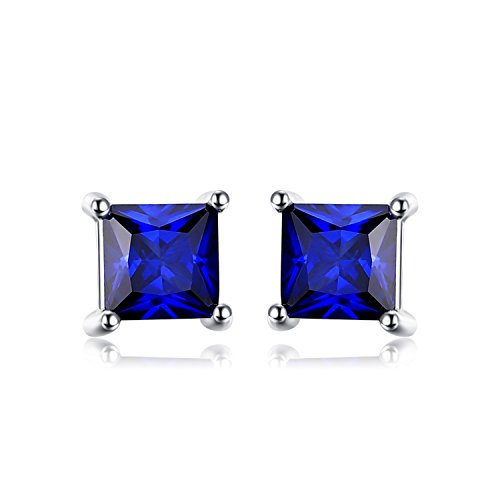 - Jewelrypalace Square 0.8ct Created Blue Sapphire 925 Sterling Silver Stud Earrings