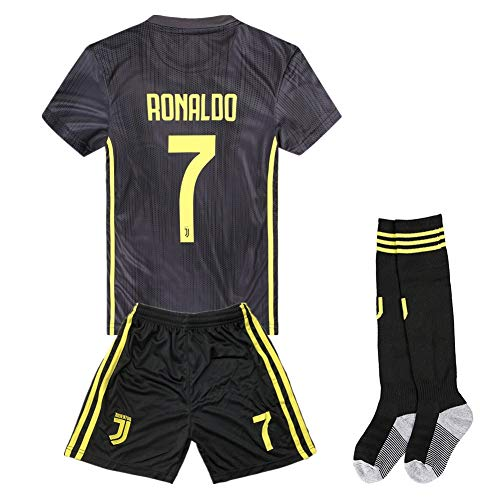 3988bddc7 2018-2019 Season Ronaldo  7 Juventus Away Kids   Youth Soccer Jersey    Shorts