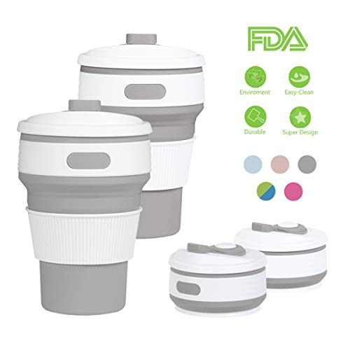 ROCONTRIP Silicone Collapsible Cup Convenient Travel Coffee Mug Lightweight Food Grade Silicone & PP BPA Free for Camping Hiking Outdoor Commuters (Gray (Set of 2))