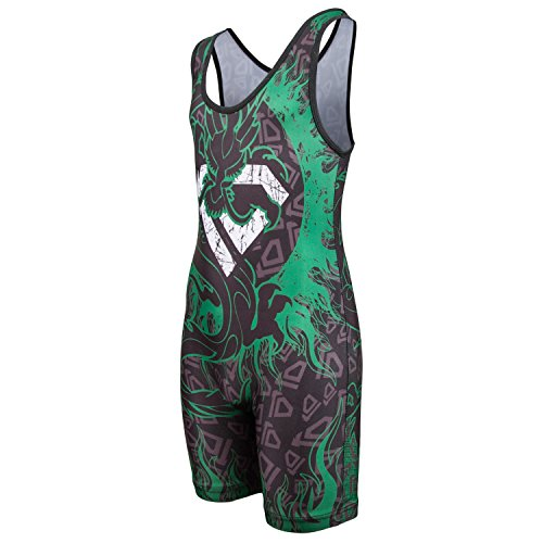 Red Flame Dance Costume (KO Sports Gear's Green Dragon Wrestling Singlet (Youth M : 50 - 65 lbs ))