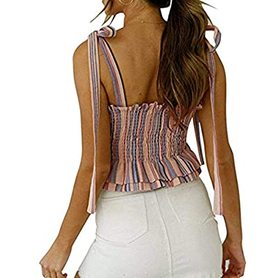 KAMISSY Women's Frill Smocked Crop Tank Top Tie Shoulder Strap Vest at Women's Clothing store