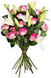 Benchmark Bouquets Fresh Cut Light Pink Roses & White Lilies, No Vase Deal