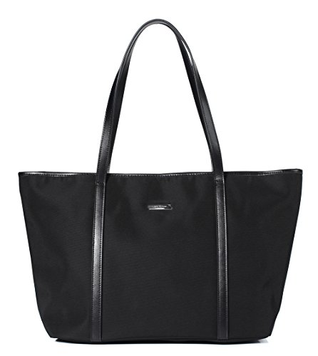 Let It Be Basic Oxford Nylon | Office Work Tote Shoulder Handbags for Women | 14-inch Laptop Tote School Tote Travel Bag in Black | 17 inch top length (Zip Easy Tote)