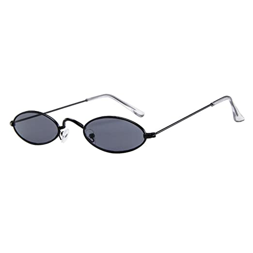 b9d2ade641 Vintage Slender Slim Fit Oval Sunglasses Small Metal Frame Candy Colors (A)