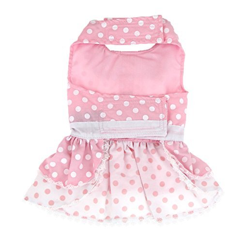 Pink Polka Dot and Lace Dog Harness Dress Set (Medium) by DOGGIE DESIGN
