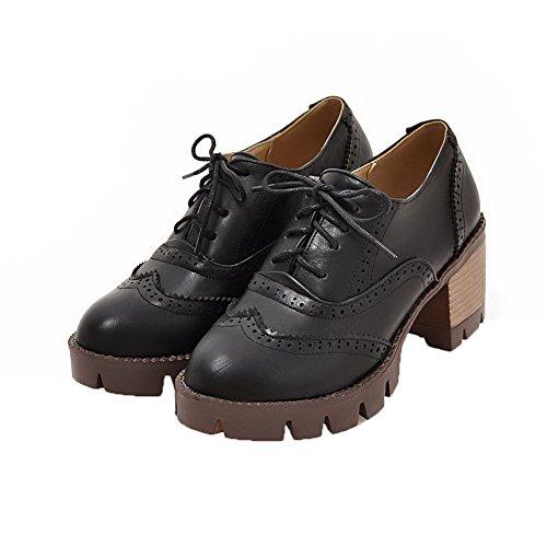 Haut d'orteil Lacet Chaussures à Talon Noir Texturé Femme AalarDom Fermeture Légeres wC0Ztqp