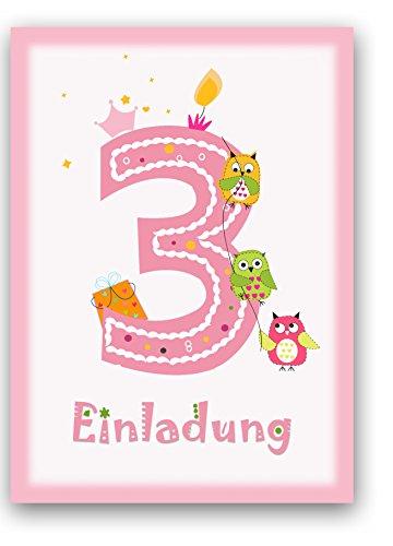 6 Einladungskarten Kindergeburtstag Zum 3. Geburtstag In Rosa Mit Eulen    Geburtstagseinladung Mit Eule Für Mädchen Kinder Party   Geburtstagsfeier:  ...