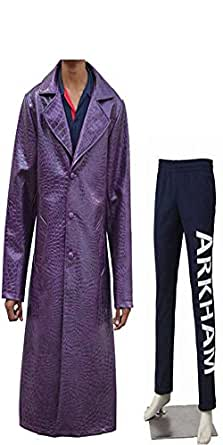 The Joker Suicide Squad Jared Leto Purple Crocodile Jacket Coat with Atkham Joker Trouser / Pant - Halloween Sale Offer (XS)