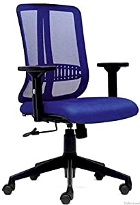 Tribe wood Blue Mid Back Ergonomic Office Mesh Chair with Lumbar Support and Height Adjustable System