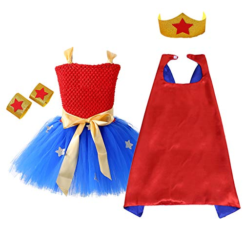AQTOPS Super-Girl Costumes for Kids, Halloween Role Play Hero Tutu Dress, Small -