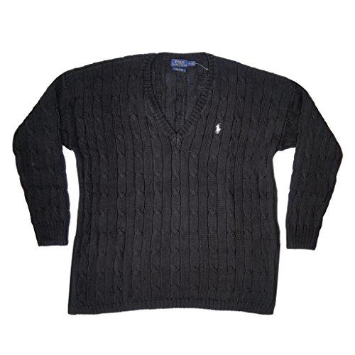 Polo Ralph Lauren Womens Pima Cotton Cable Knit V-Neck Sweater (M, Polo Black) (Sweater 100% Pima Cotton)