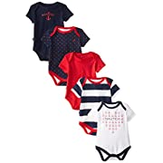 Nautica Baby Girls' Assorted Print Bodysuits 5 Pack, Multi, 6-9 Months
