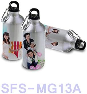 SFS BLANK 4 pcs. Aluminum Water Sport Thermo Bottles Flask W Carabine for Sublimation DYE Heat Transfer Grey 600ml