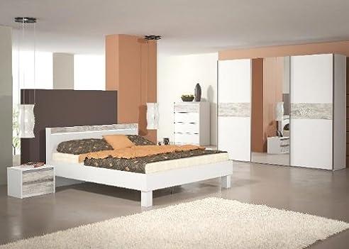 Schlafzimmer Komplett Elektra Weiss Vintage Look Bett 180cm Weiß ...