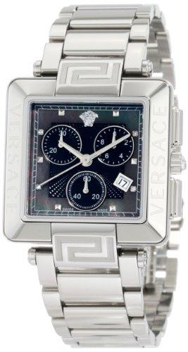 Versace Women's 88C99SD008 S099 Reve Carrè Chronograph Mother-Of-Pearl Diamond Steel Bracelet Watch