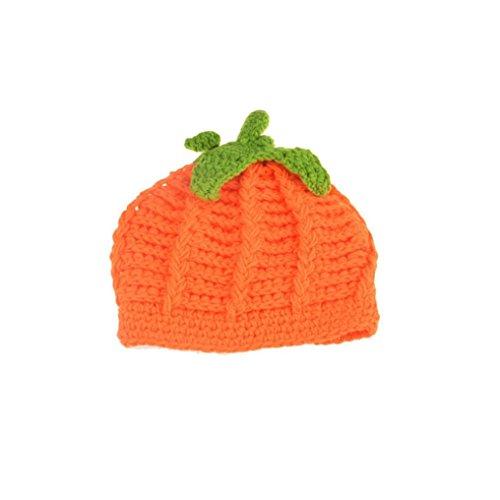 Knit Pumpkin (Dingji Newborn Baby Orange Pumpkin Cap Knit Hat Costume Photography Prop)