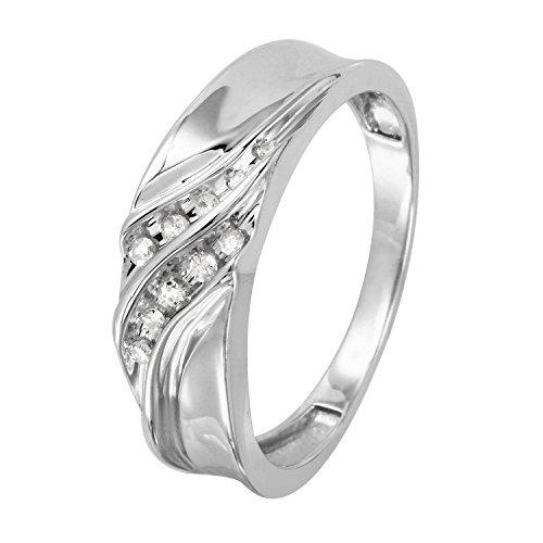 0.1 Carat Natural Diamond 10K White Gold Wedding Band for Men Size 10 0.1 Ct Wedding Band